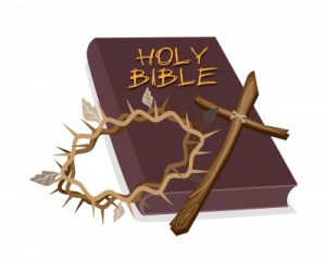 bible, cross and crown of thorns