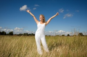 free girl in meadow