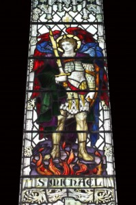 stained-glass knight
