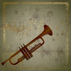 trumpet with musical background